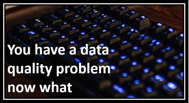 You have a data quality problem now what