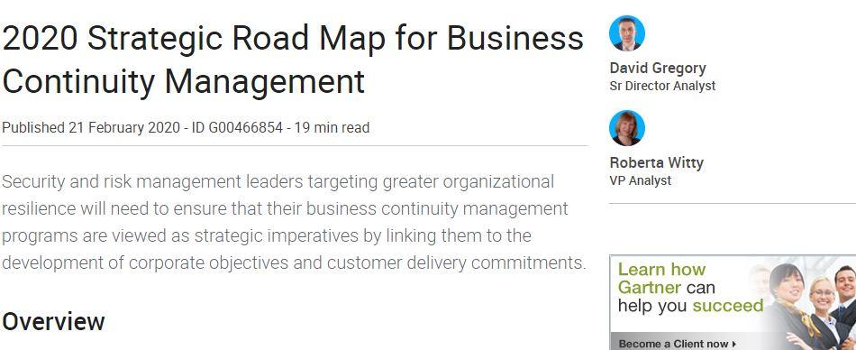 Gartner 2020 Strategic Road Map for Business Continuity Management